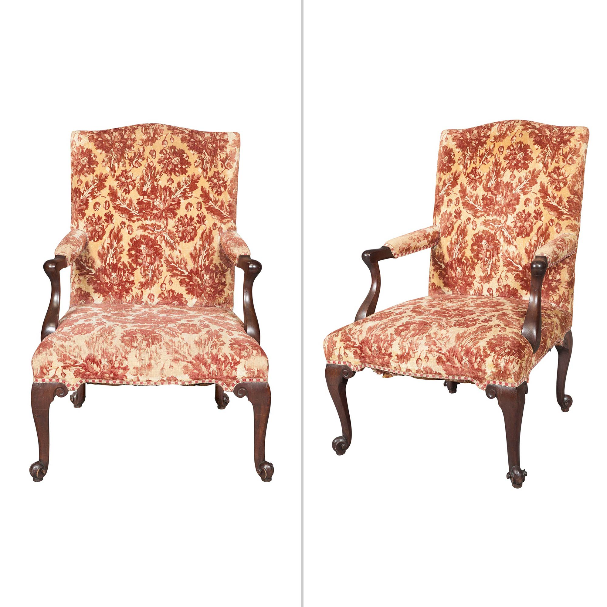 Lot image - Pair of George II Mahogany Library Armchairs