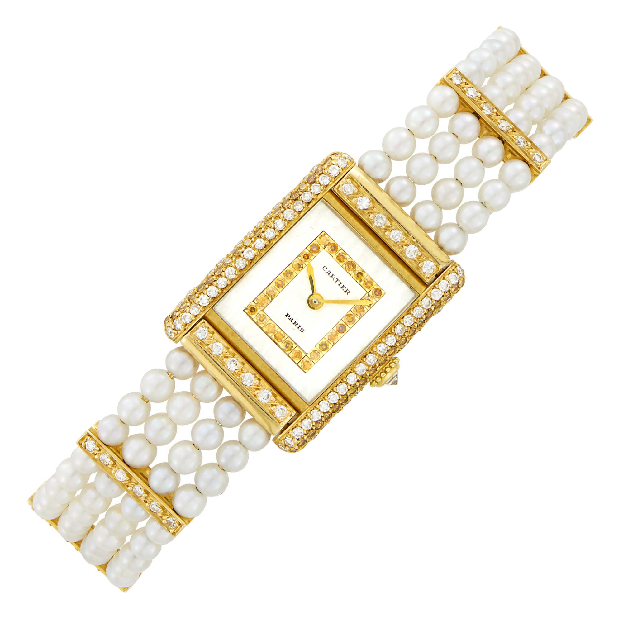 Lot image - Cartier Paris Gold, Mother-of-Pearl, Cultured Pearl, Colored Diamond and Diamond Wristwatch, Ref. 0132