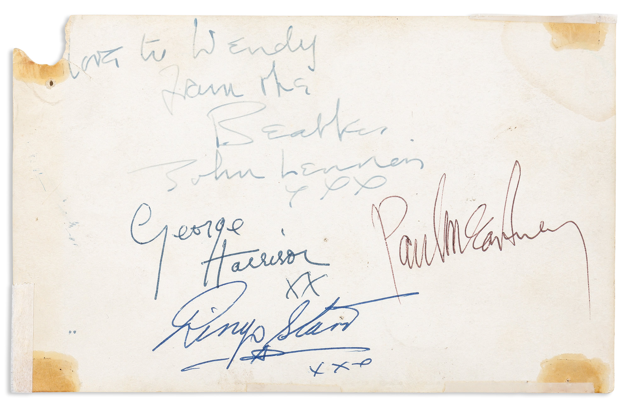Lot image - THE BEATLES  Set of Beatles signatures on the verso of a Parlophone promotional postcard, accompanied by an authentication letter by Frank Caiazzo.