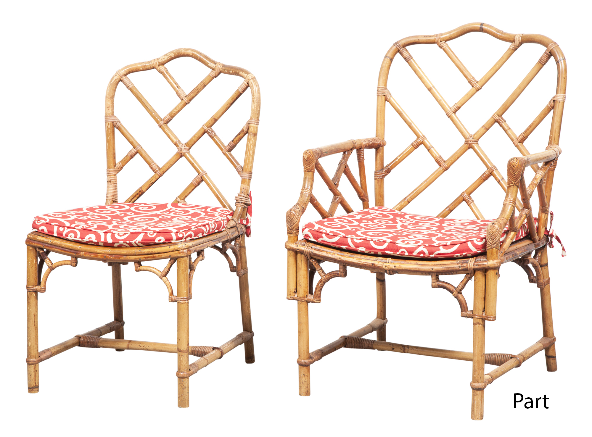 Lot image - Set of Ten Bamboo and Rattan Dining Chairs