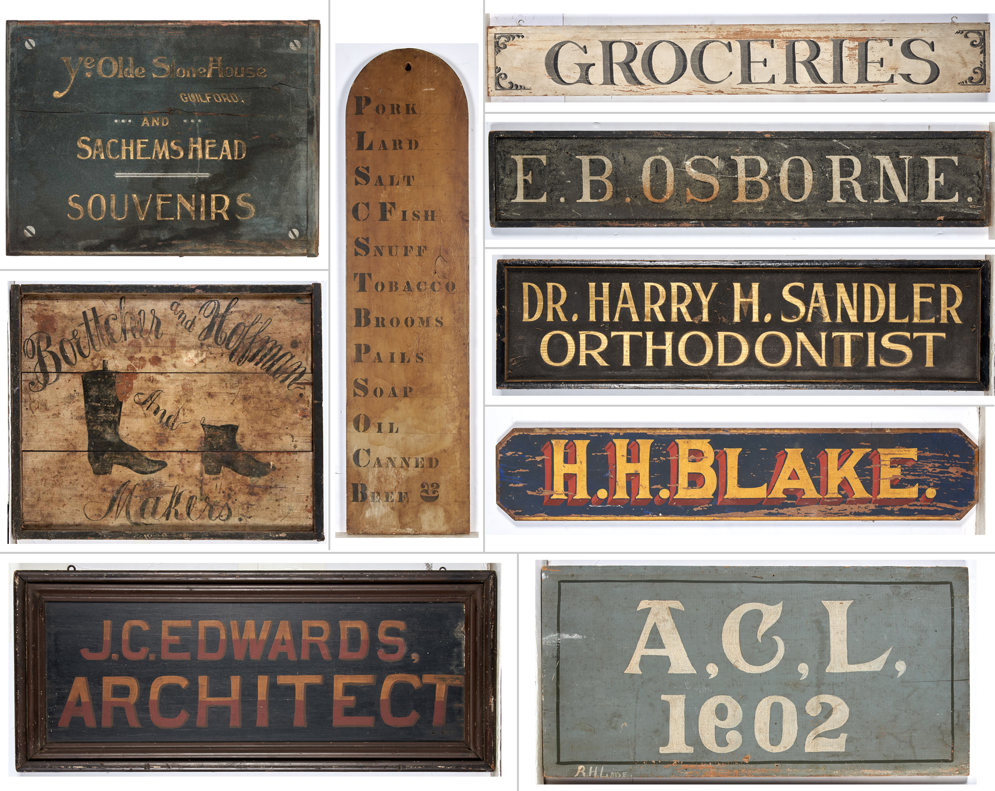 Lot image - Group of Nine Painted Trade Signs