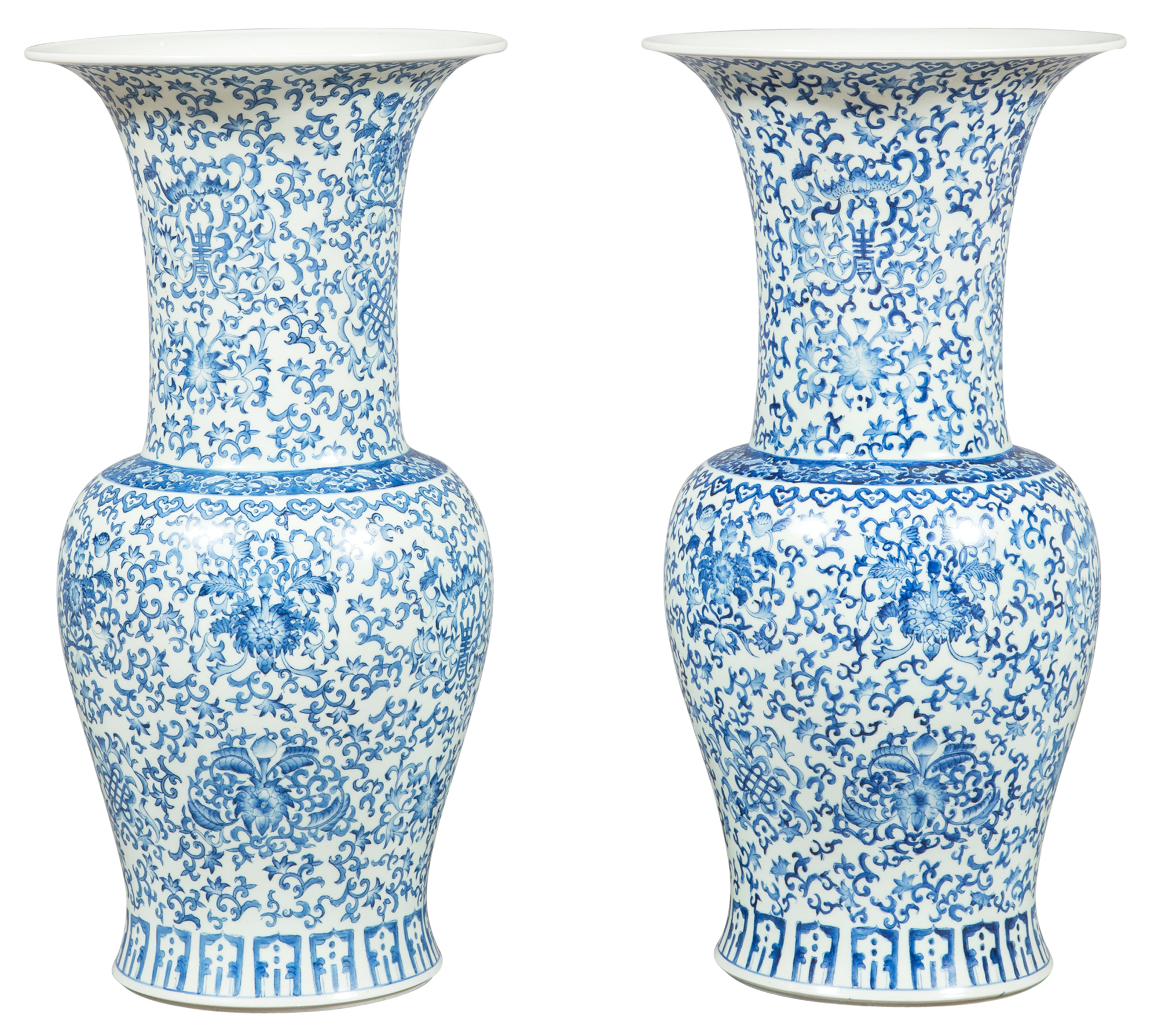 Lot image - A Pair of Qing-Style Blue and White Porcelain Vases