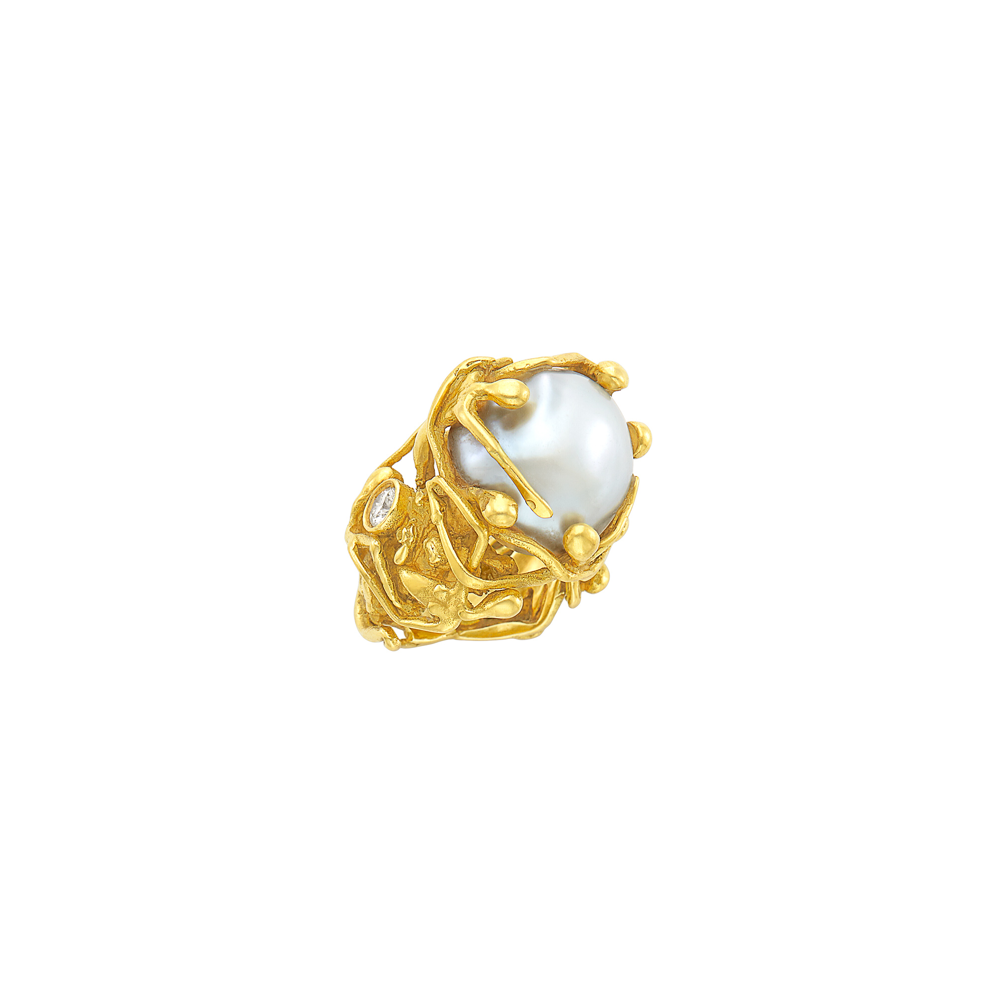 Lot image - Gold, Baroque Cultured Pearl and Diamond Figural Ring