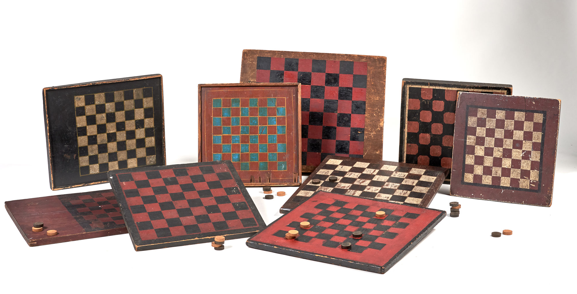 Lot image - Group of Nine Painted Wood Game Boards