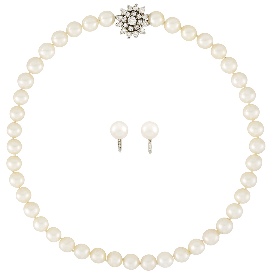 Lot image - Cultured Pearl Necklace with Platinum and Diamond Clasp and Pair of Earclips