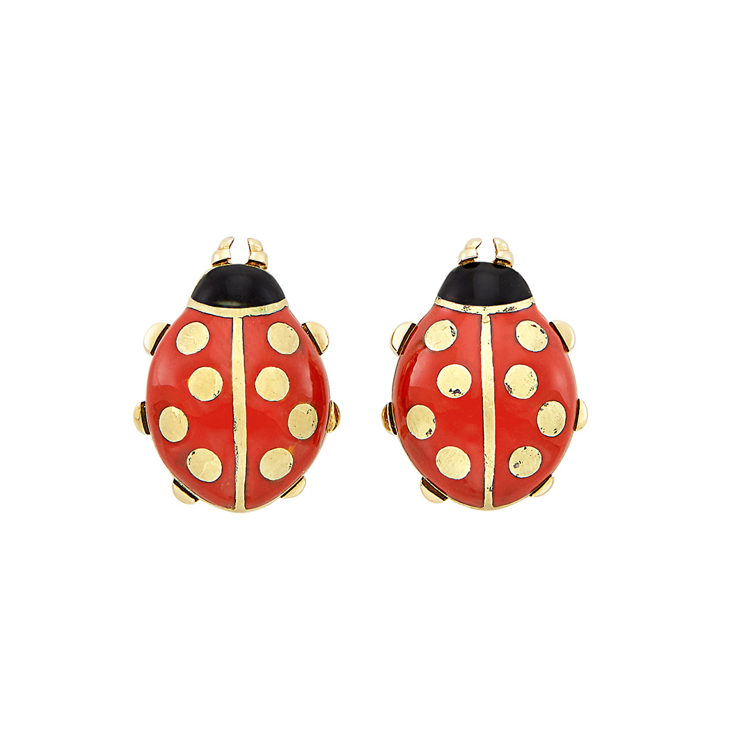Lot image - Pair of Gold and Enamel Ladybug Earrings, Cartier