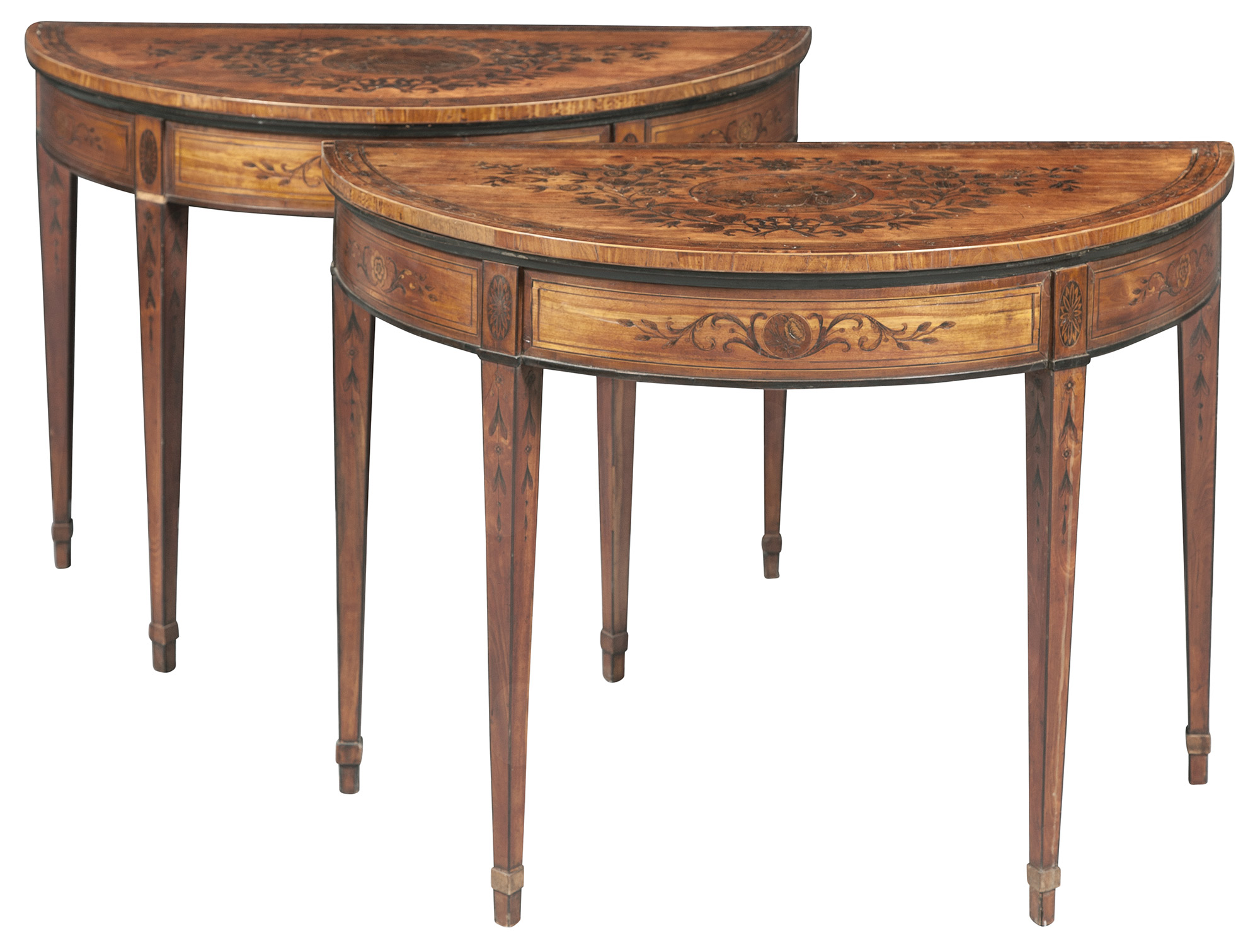 Lot image - Pair of George III Satinwood, Marquetry and Part-Ebonized Games Tables in the manner of Mayhew and Ince