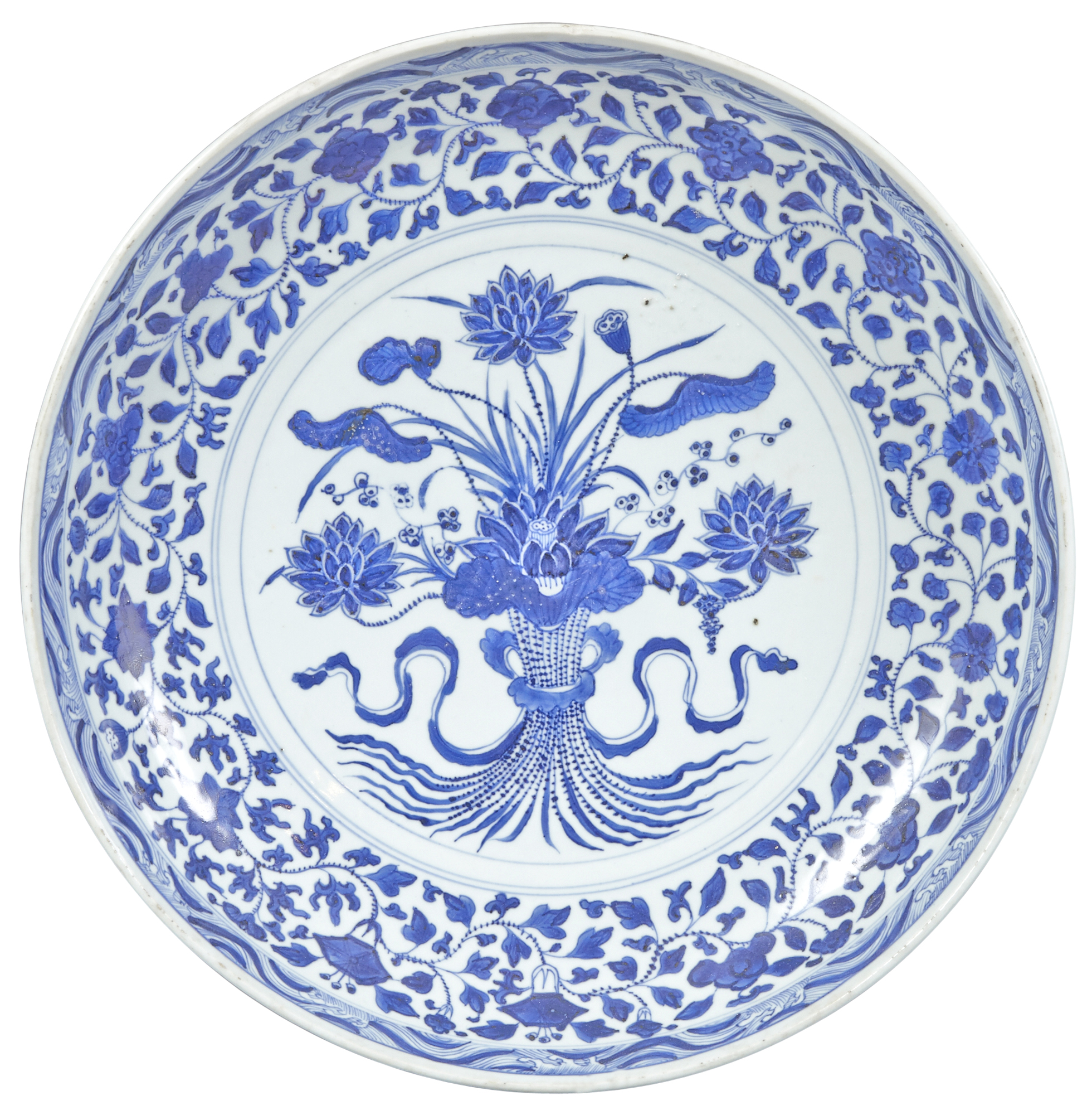 Lot image - A Chinese Blue and White Porcelain Lotus Bouquet Charger