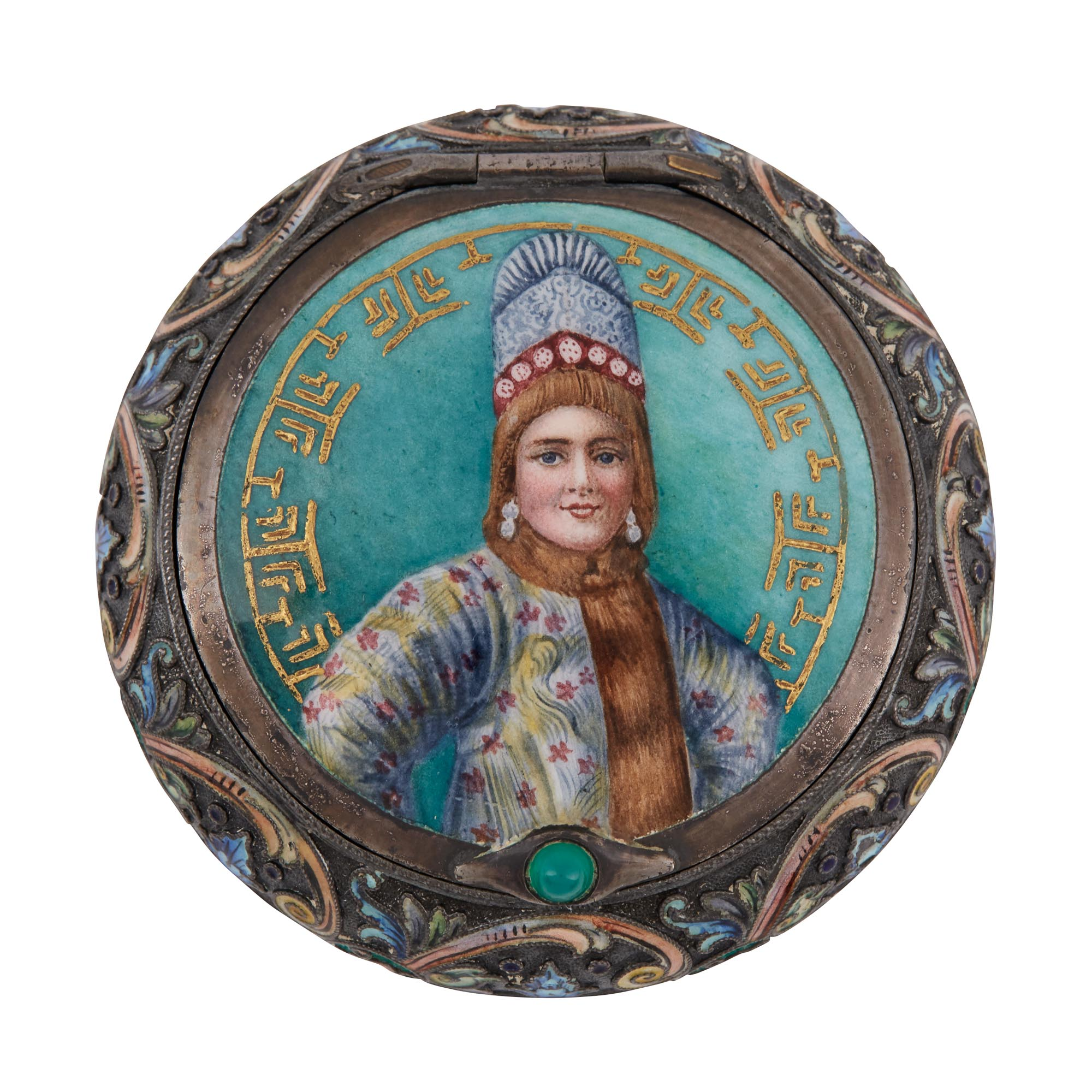 Lot image - Russian Silver-Gilt, Cloisonné and Pictorial Enamel Pill Box