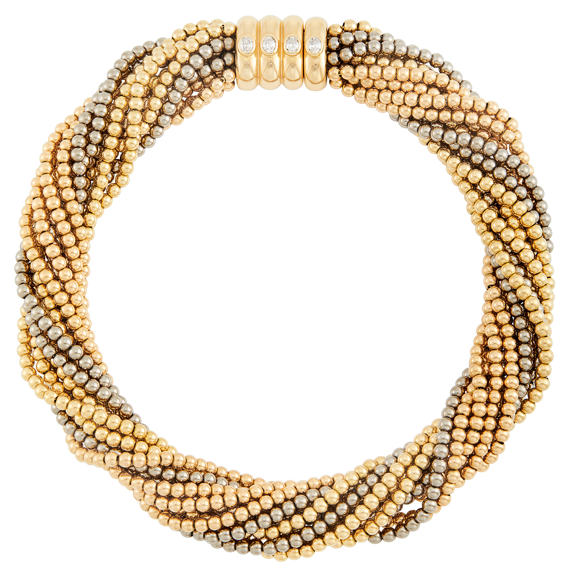 Lot image - Multistrand Tricolor Gold Bead and Diamond Torsade Necklace, Poiray, France