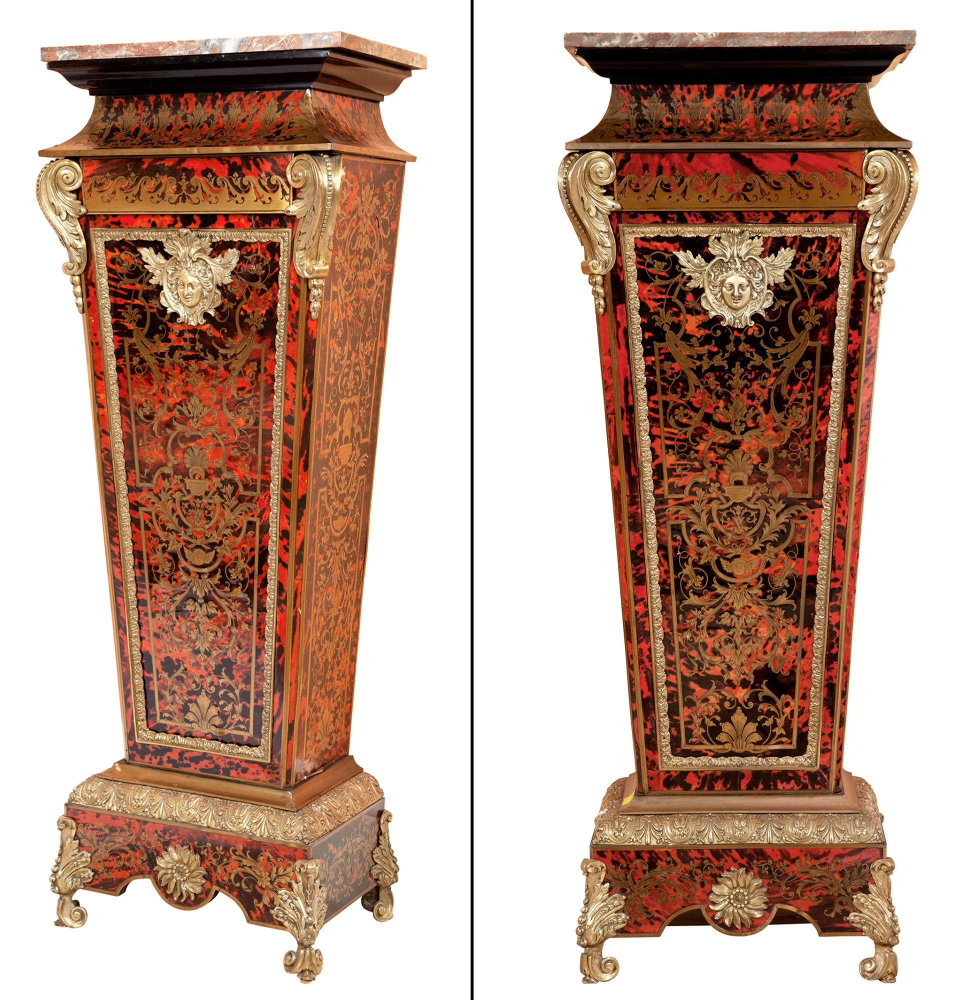 Lot image - Pair of Louis XIV Style Tortoiseshell, Brass-Inlaid Boulle Marquetry and Gilt-Metal-Mounted Marble Top Pedestals