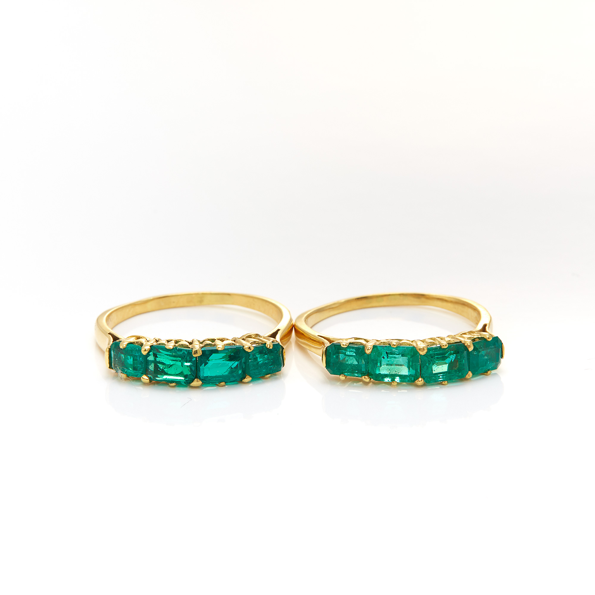 Lot image - Pair of Gold and Emerald Rings