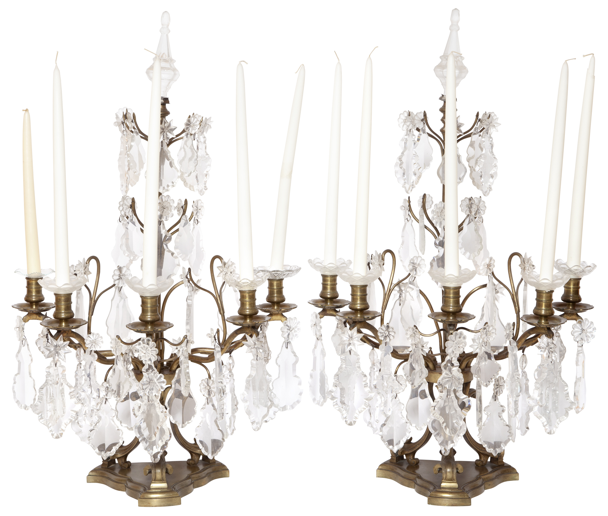 Lot image - Pair of Rococo Style Bronze and Glass Five-Light Girandoles