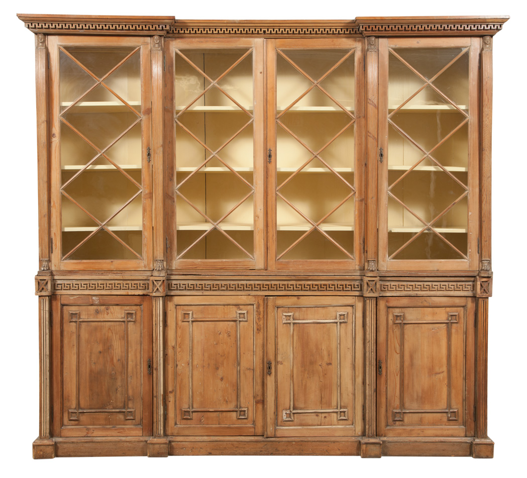 Lot image - Regency Stripped Pine Bookcase Cabinet