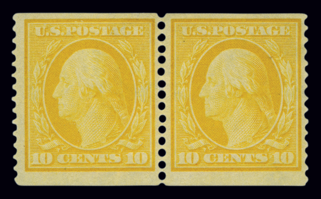 Lot image - United States 1909 10 Cent Yellow Coil Pair, Scott 356
