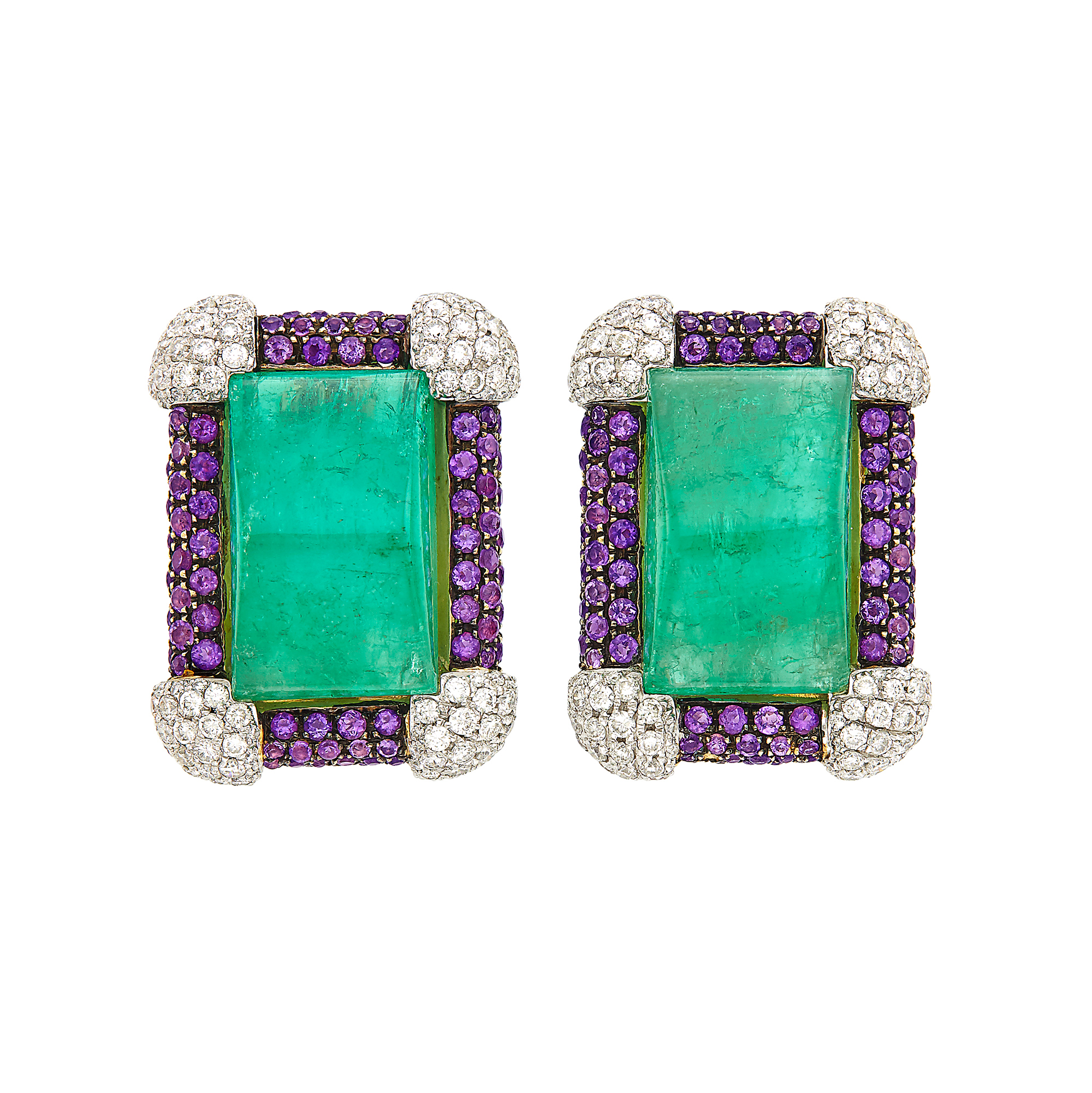 Lot image - Pair of Gold, Platinum, Cabochon Emerald, Amethyst and Diamond Earclips, Michele della Valle
