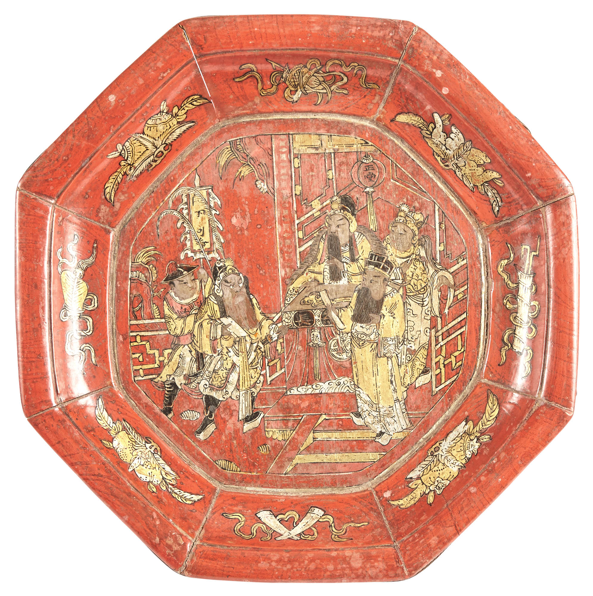 Lot image - Chinese Red Lacquered Wooden Octagonal Stand