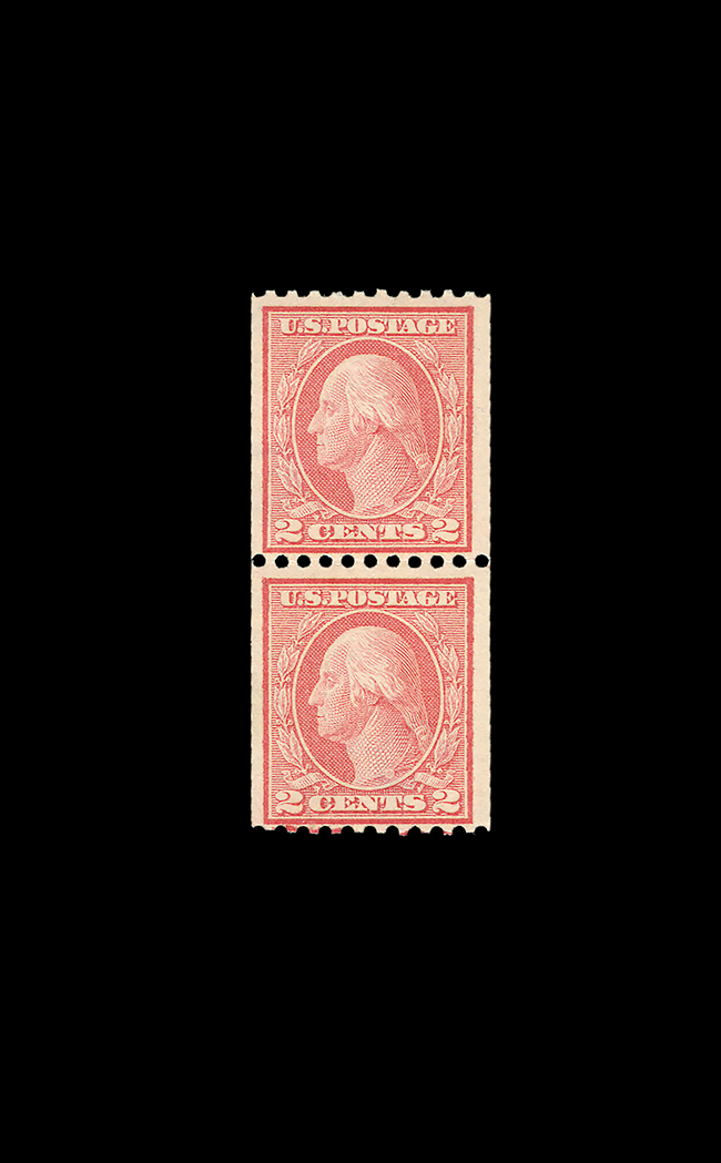 Lot image - United States 1915 One Cent Type I Coil Pair, Scott 449