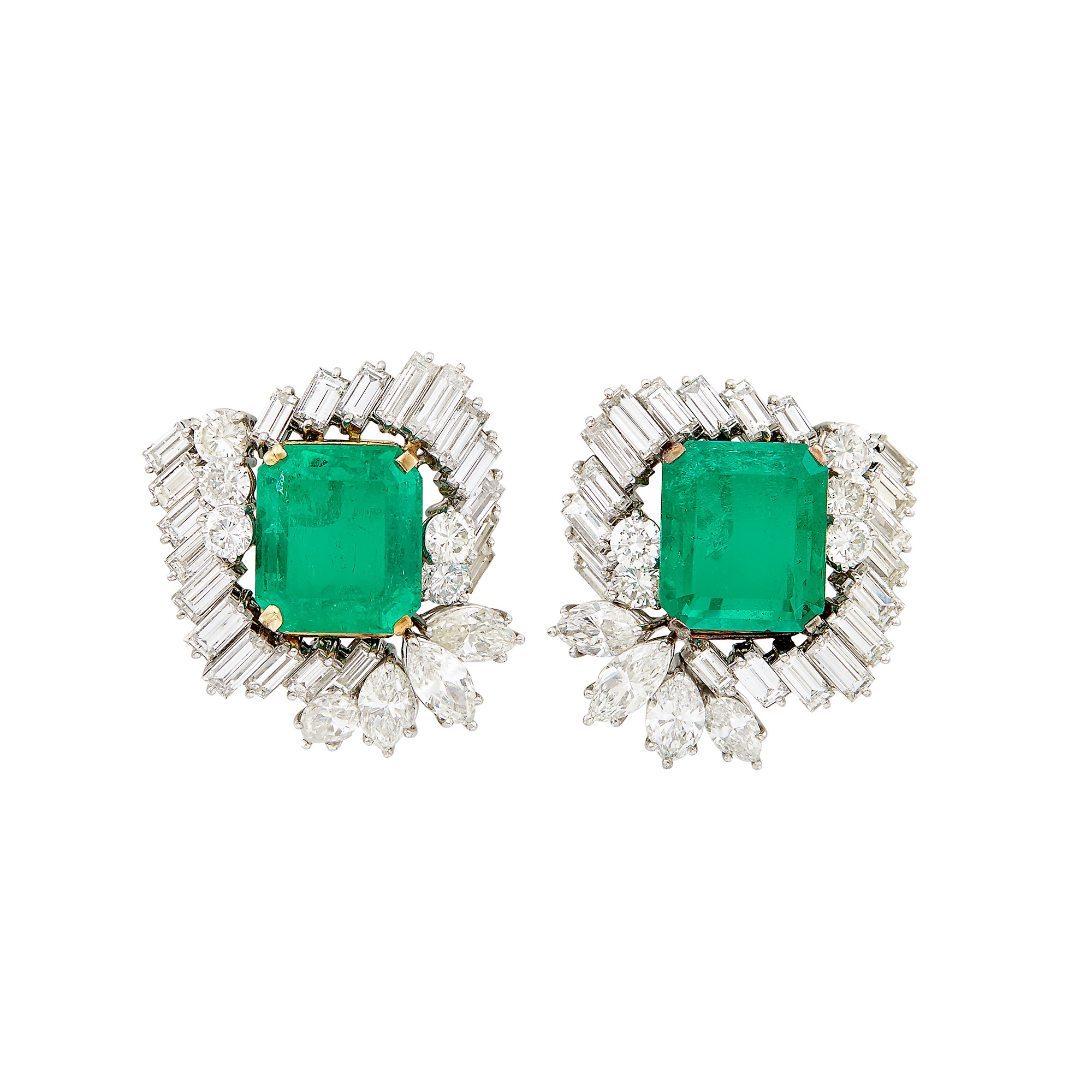 Lot image - Pair of Platinum, Gold, Emerald and Diamond Earrings