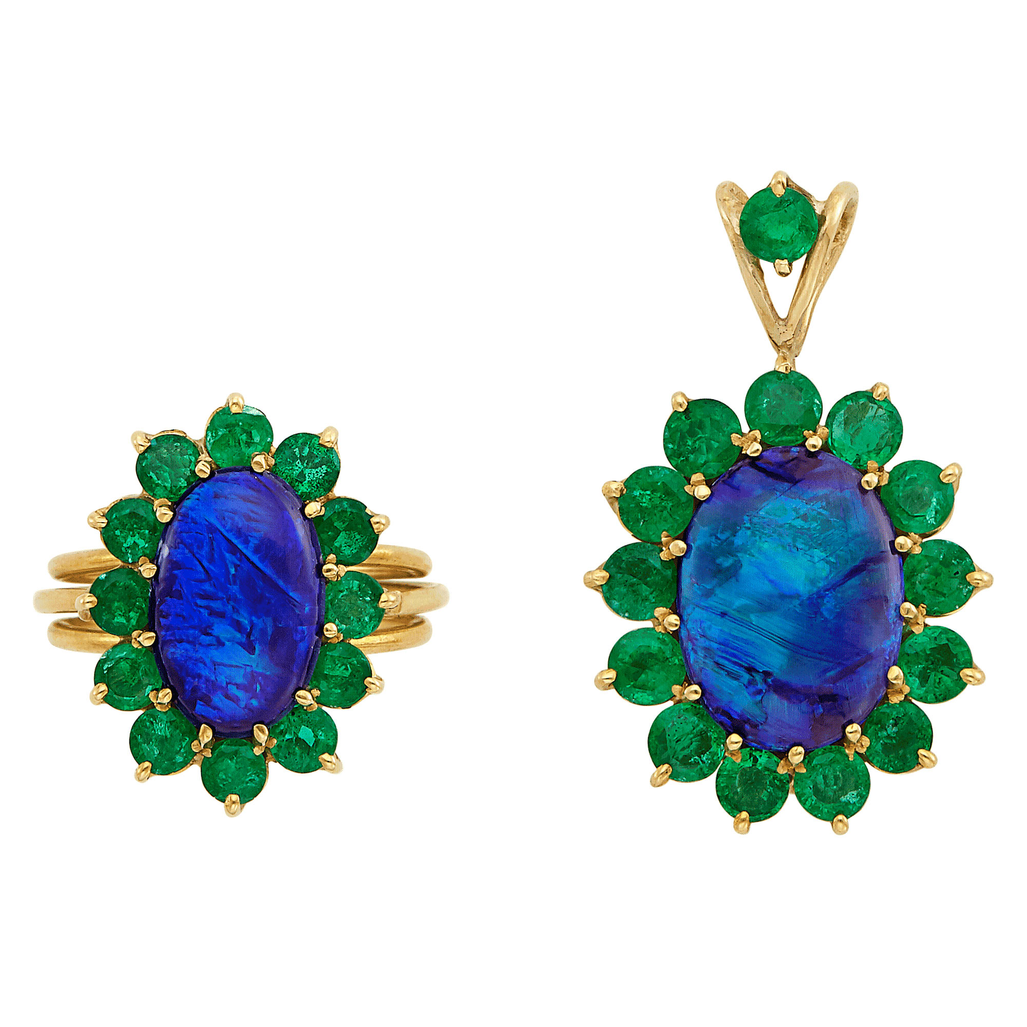 Lot image - Gold, Black Opal and Emerald Ring and Pendant