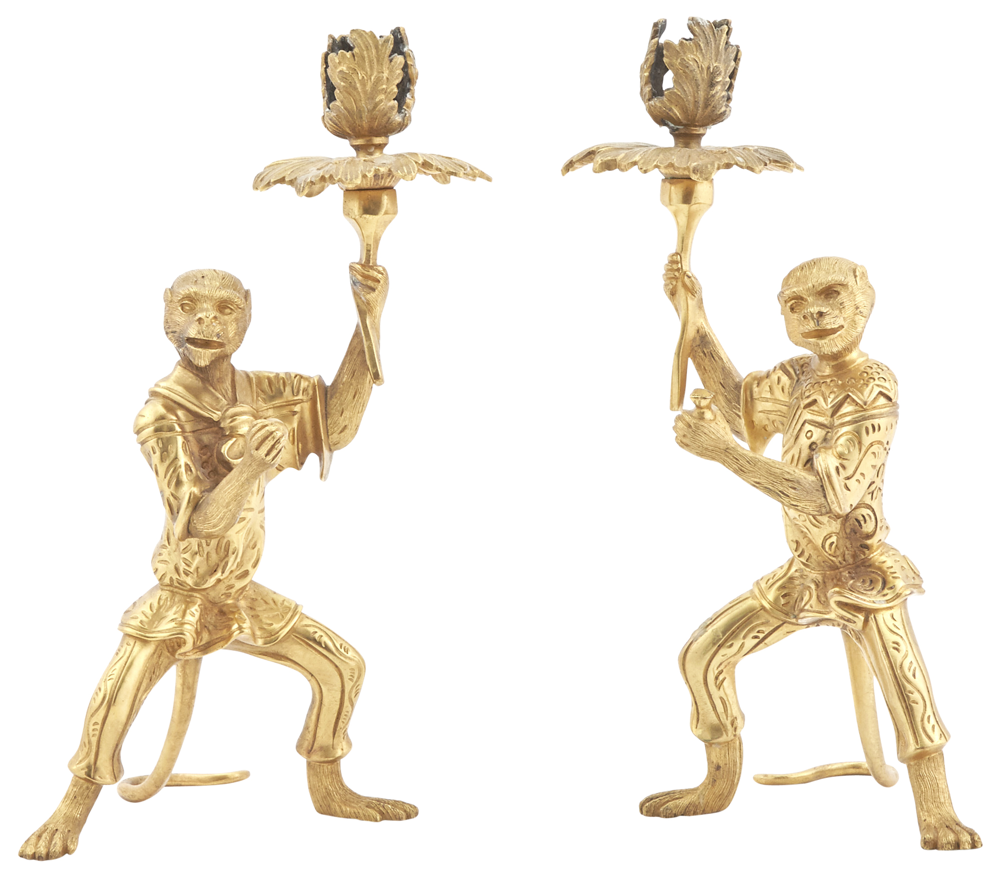 Lot image - Pair of Gilt Metal Monkey Form Candlesticks