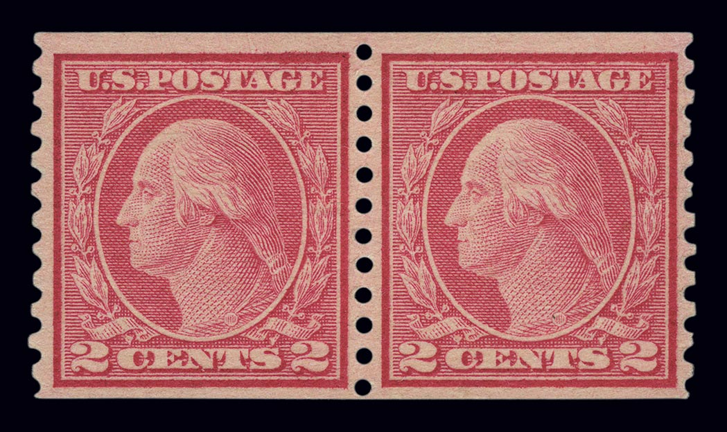 Lot image - United States 1916-22 Two Cent Type II Coil Pair, Scott 491