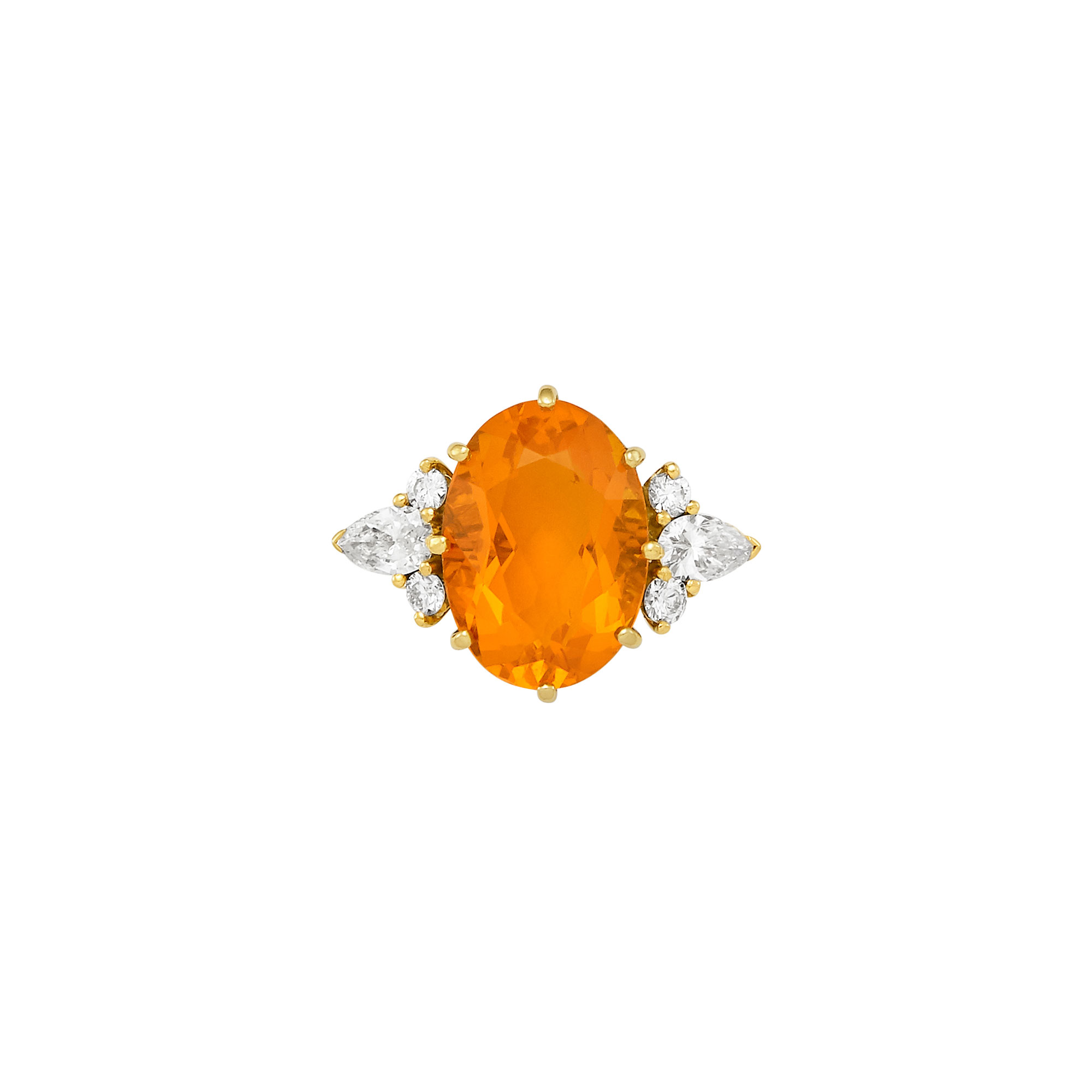 Lot image - Gold, Fire Opal and Diamond Ring, Asprey