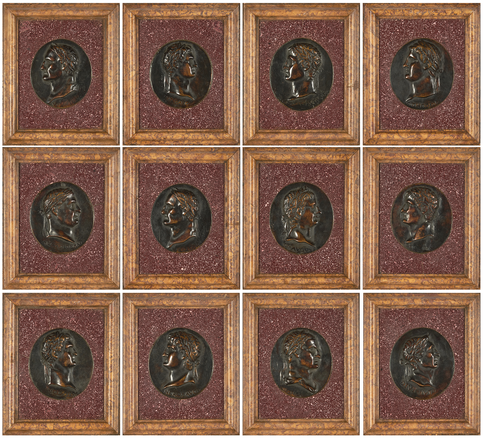 Lot image - Set of Twelve Patinated-Bronze Relief Portraits of the Roman Emperors