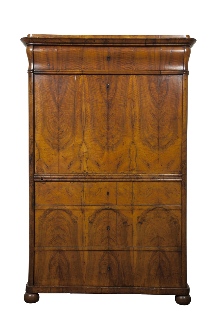 Lot image - Biedermeier Walnut Cabinet with Shelved Interior