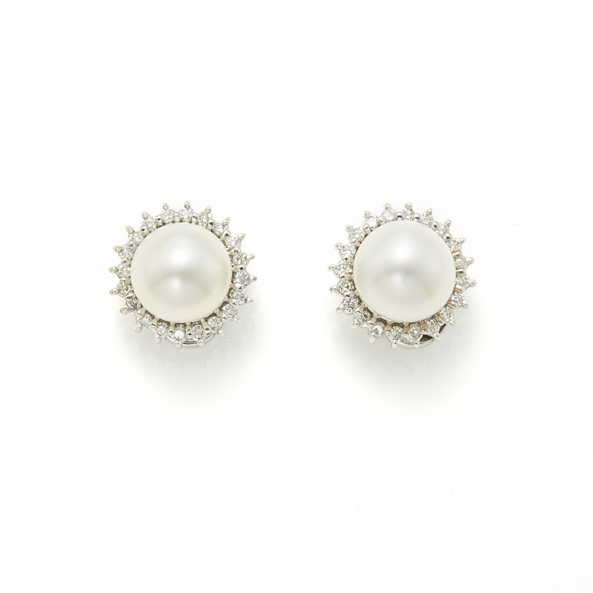 Lot image - Pair of White Gold, South Sea Cultured Pearl and Diamond Earclips