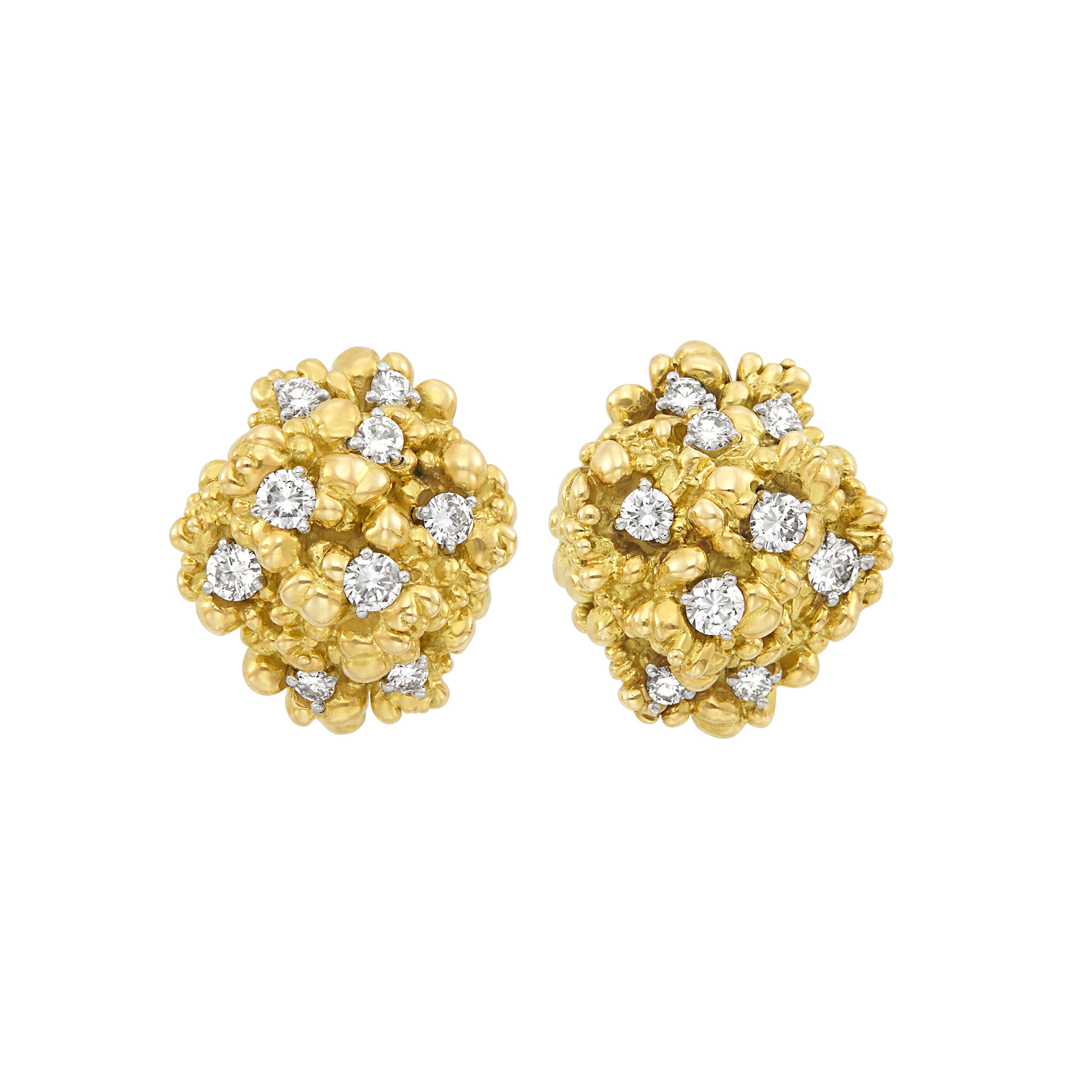 Lot image - Pair of Nugget Gold and Diamond Cluster Earrings, Cartier, France