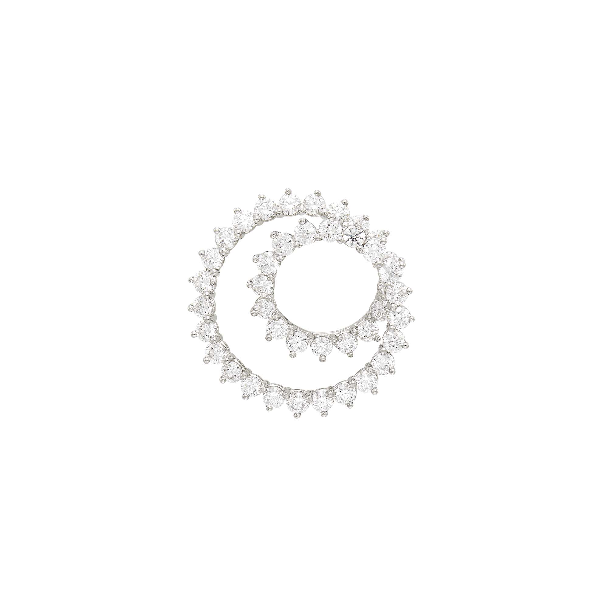 Lot image - Tiffany & Co. Platinum and Diamond Spiral Brooch