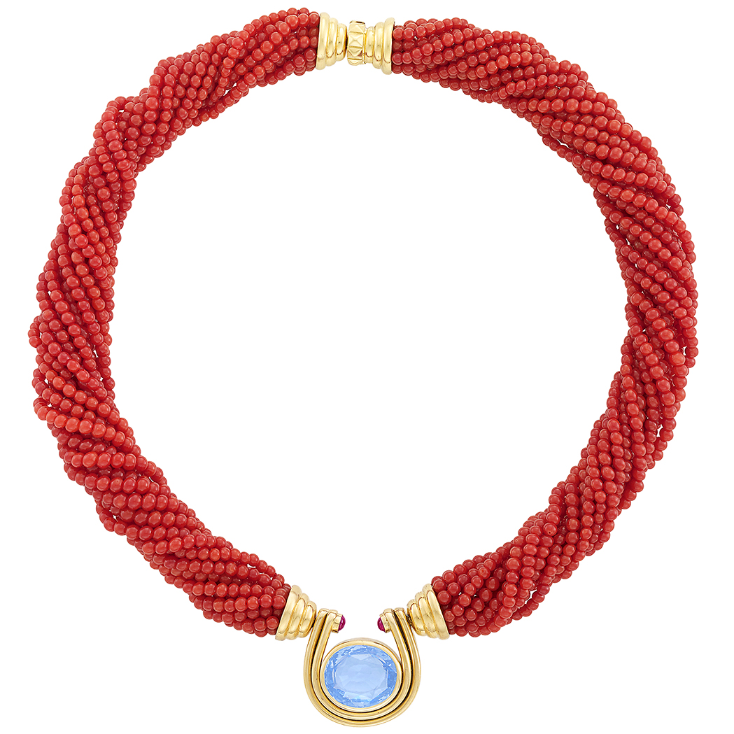 Lot image - Multistrand Coral Bead, Gold, Sapphire and Cabochon Ruby Torsade Necklace, Bulgari