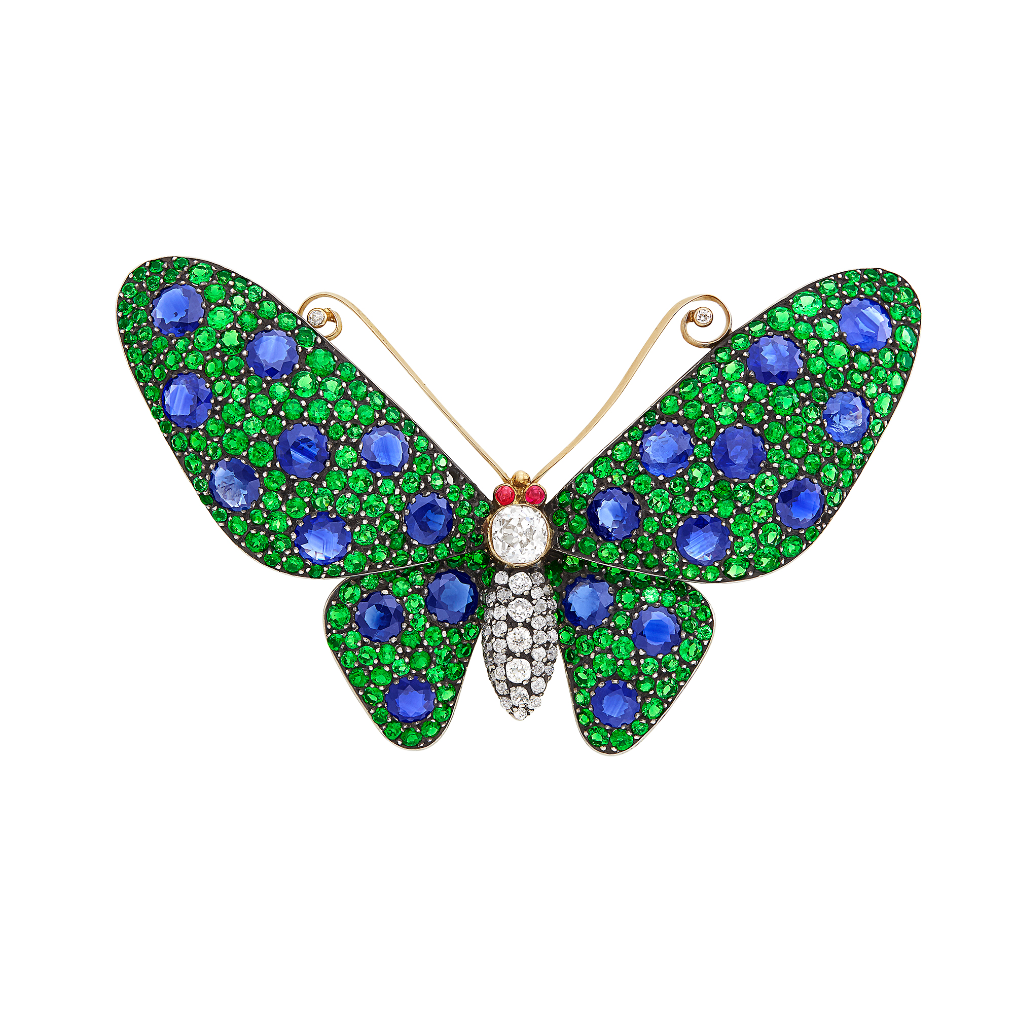 Lot image - Gold, Silver, Sapphire, Tsavorite Garnet, Diamond and Cabochon Ruby Butterfly Brooch