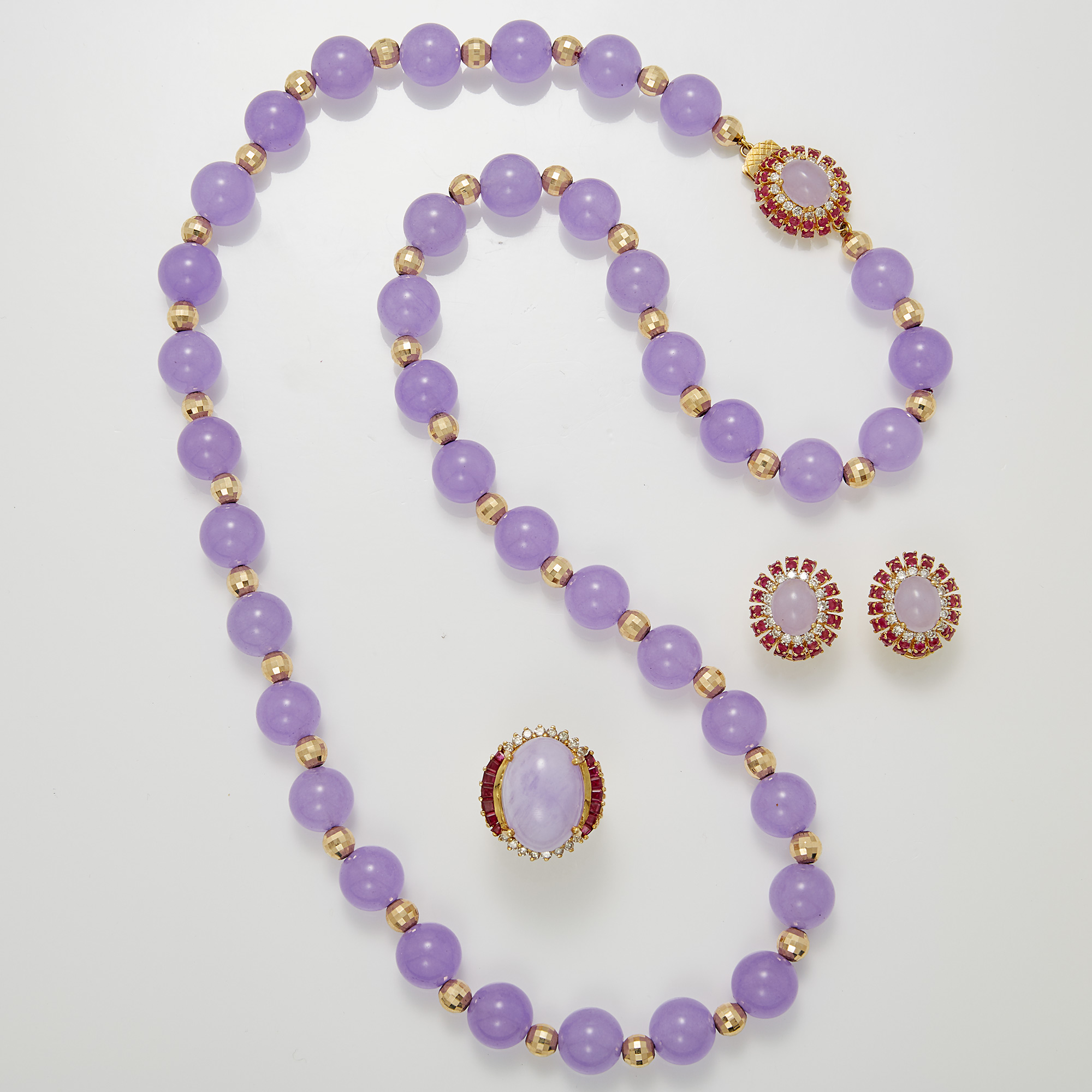 Lot image - Dyed Purple Quartz and Gold Necklace, Lavender Jade, Ruby and Diamond Ring and Pair of Earclips