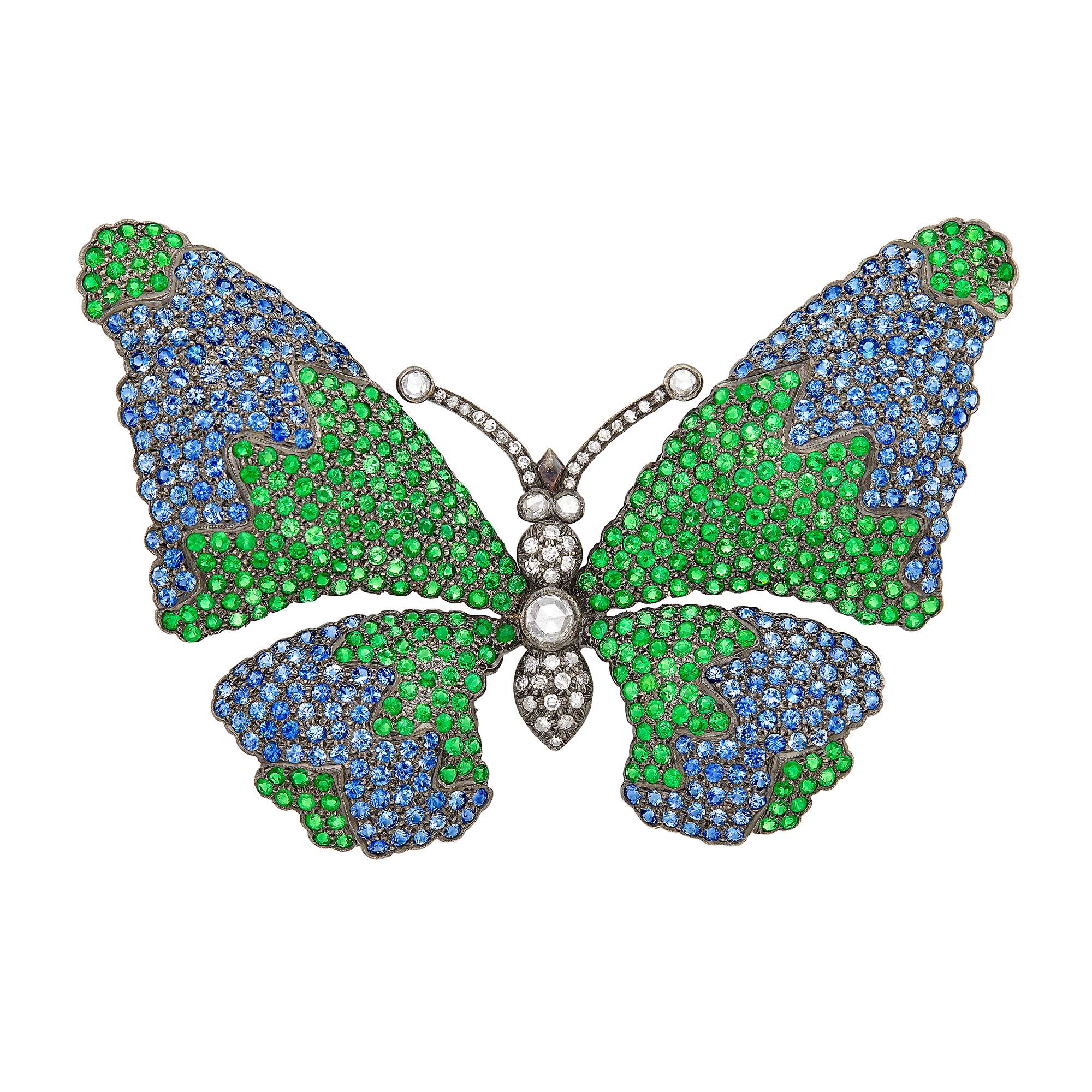 Lot image - White Gold, Sapphire, Tsavorite Garnet and Diamond Butterfly Brooch