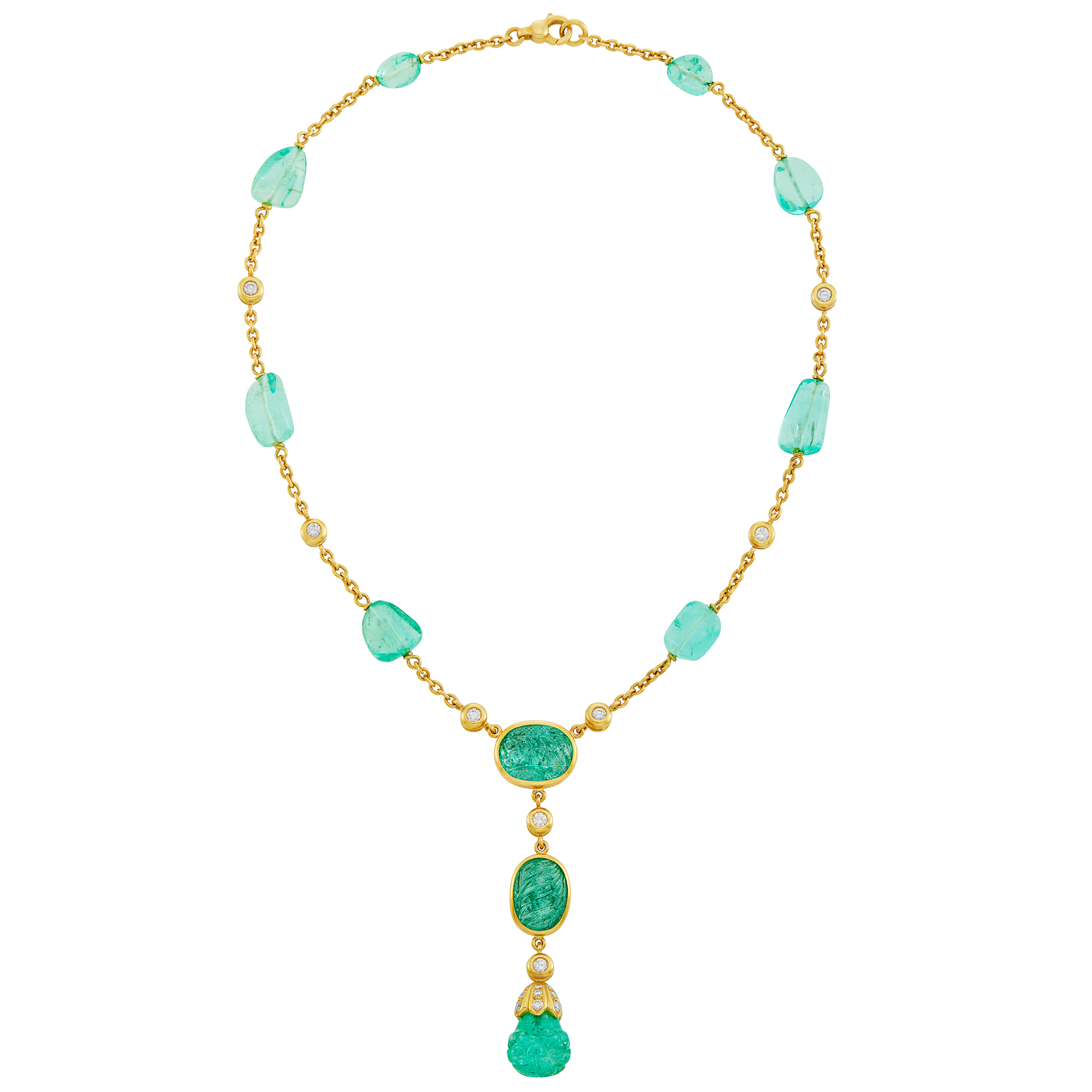 Lot image - Gold, Tumbled and Carved Emerald Bead and Diamond Pendant Chain Necklace, Tambetti