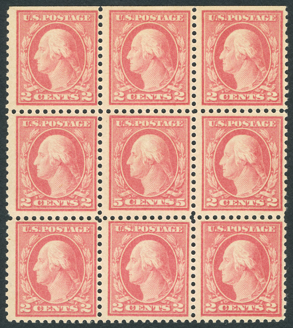 Lot image - United States 1917-19 Five Cents Error in Block of Nine, Scott 505