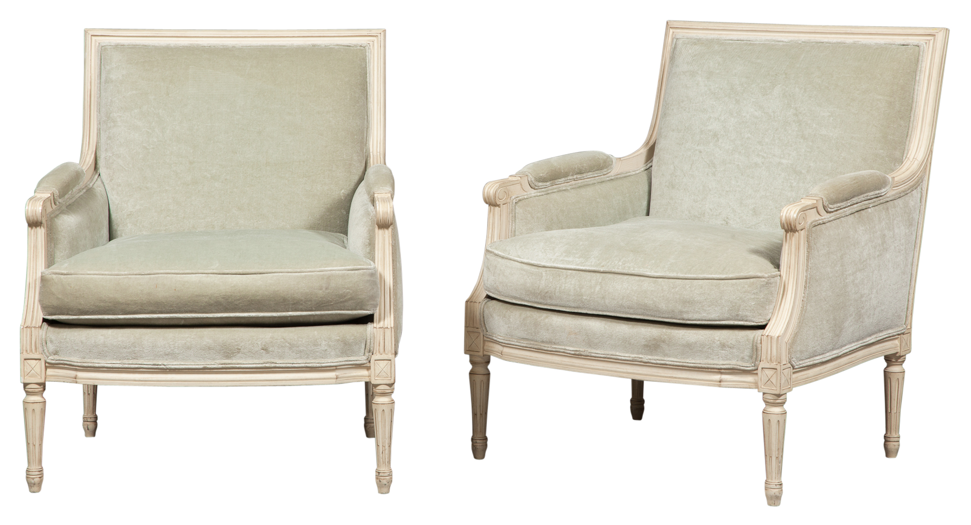 Lot image - Pair of Louis XVI Style Painted Bergères