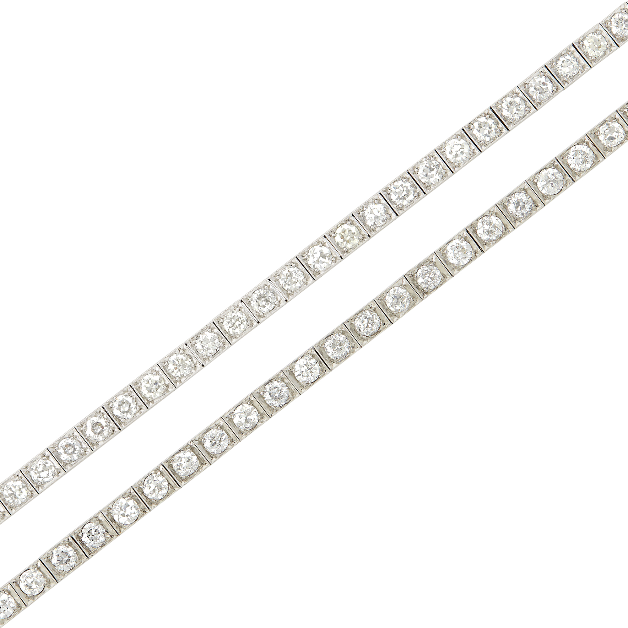 Lot image - Two Platinum and Diamond Straightline Bracelets