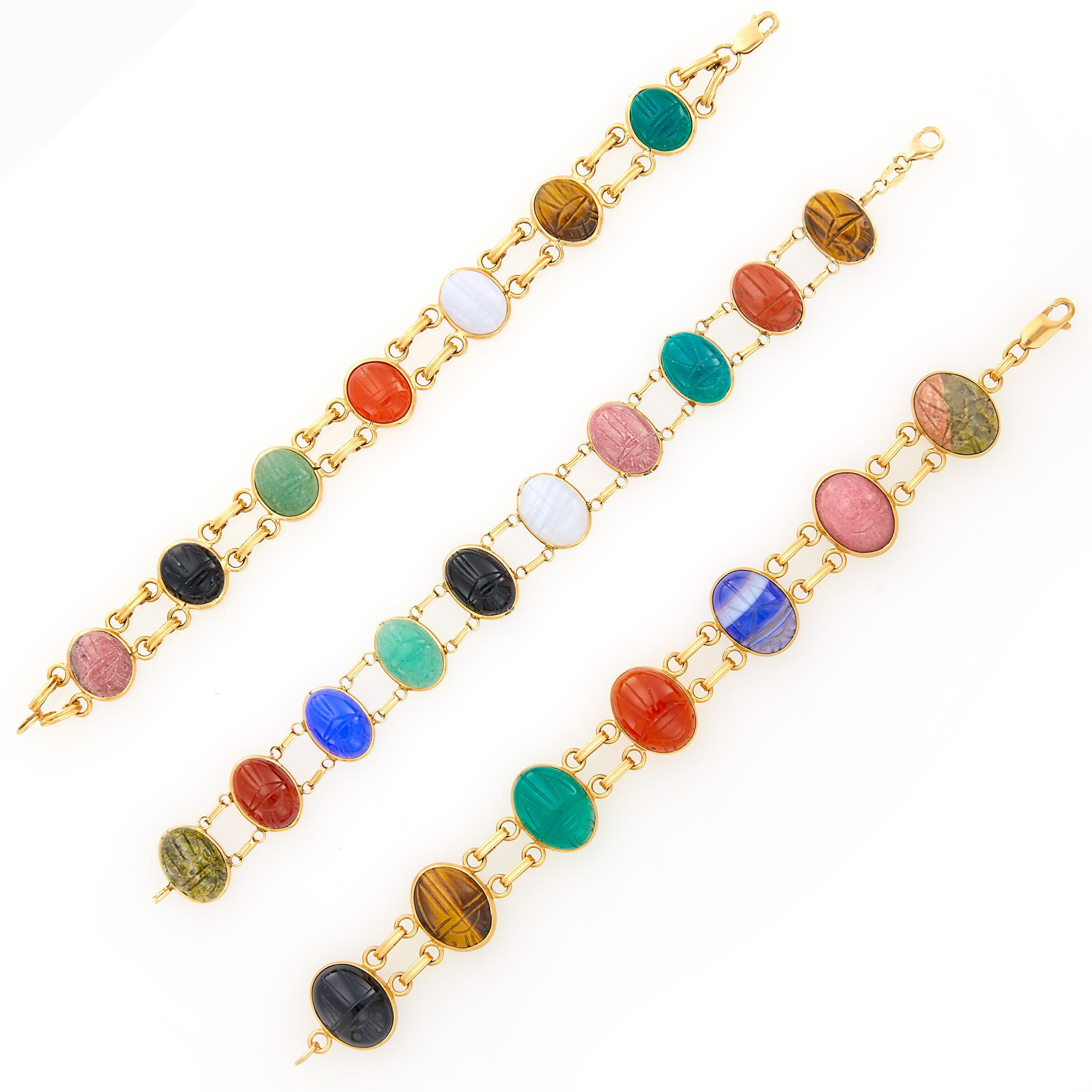 Lot image - Three Double Strand Gold and Hardstone Scarab Bracelets