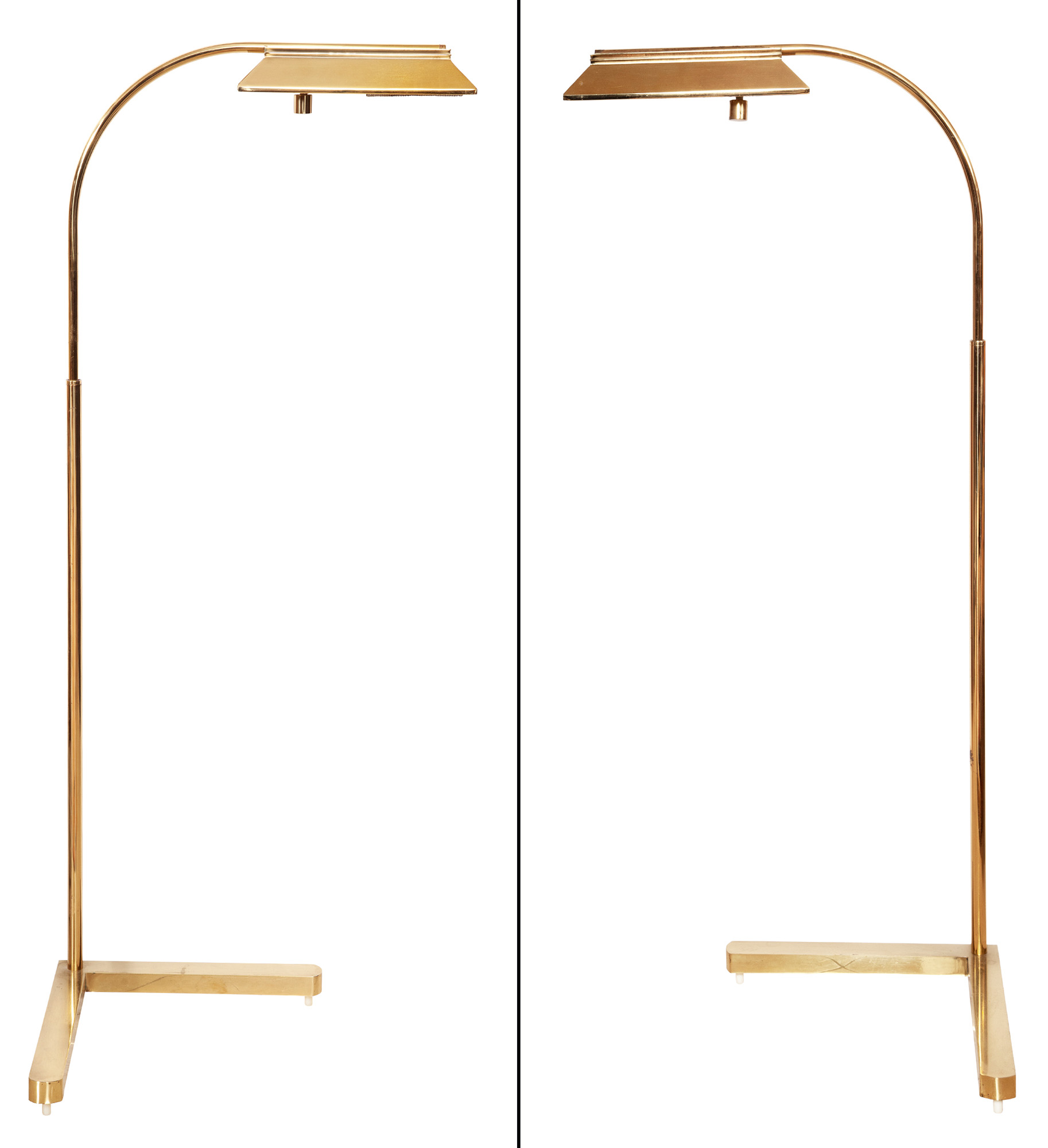 Lot image - Pair of Brass Adjustable Floor Lamps