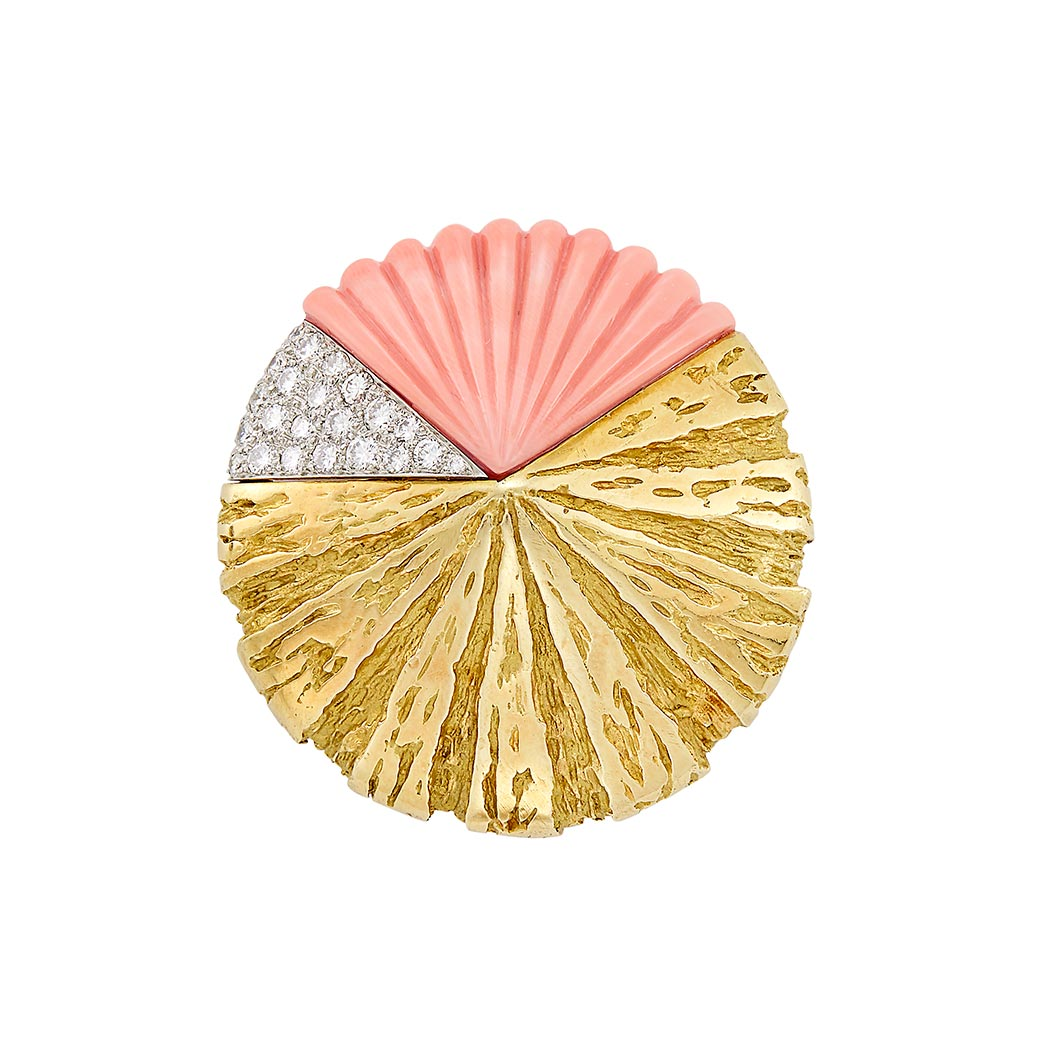 Lot image - Gold, Platinum, Carved Coral and Diamond Clip-Brooch, Van Cleef & Arpels, France