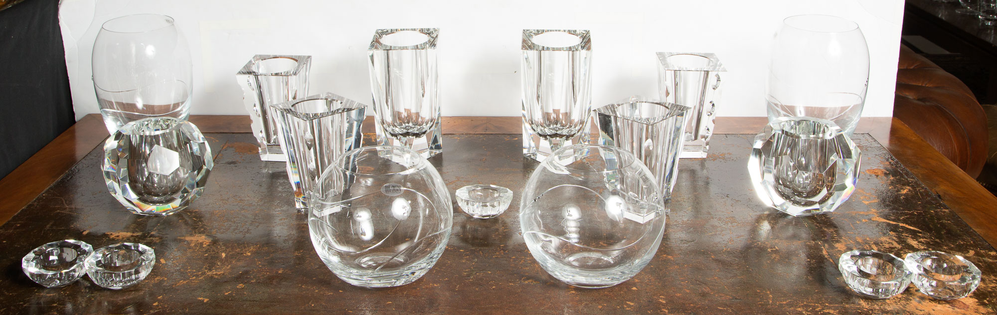 Lot image - Miscellaneous Group of Oleg Cassini Glass Table Articles