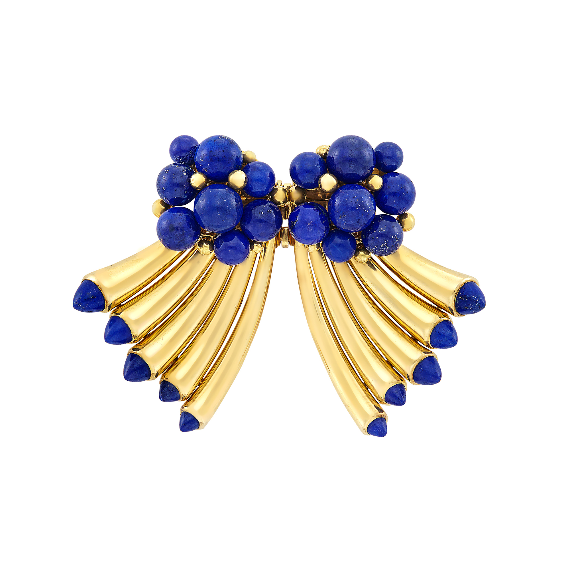 Lot image - Retro Gold and Lapis Double Clip-Brooch, Cartier, Paris