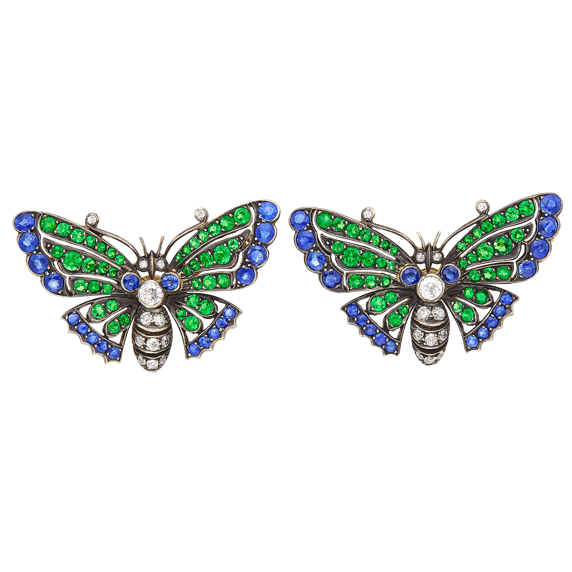 Lot image - Pair of Gold, Silver, Sapphire, Tsavorite Garnet and Diamond Butterfly Pins