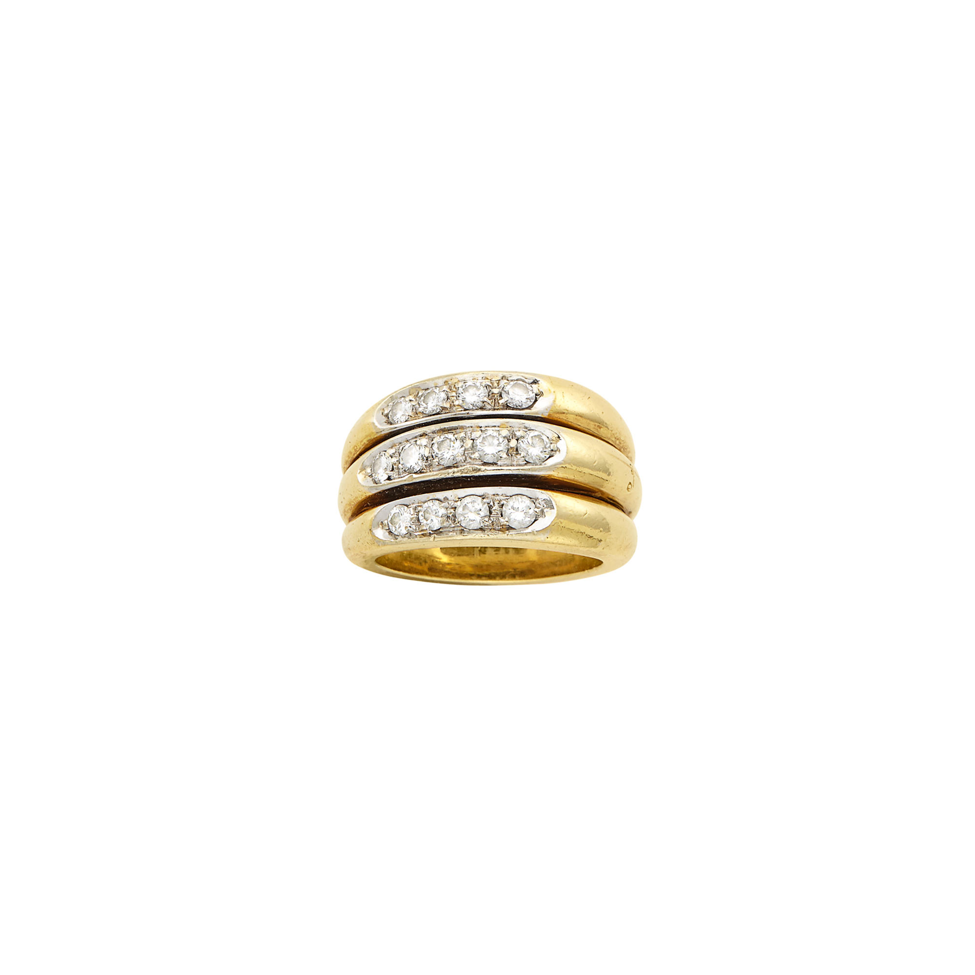 Lot image - Triple Row Two-Color Gold and Diamond Band Ring, Pomellato