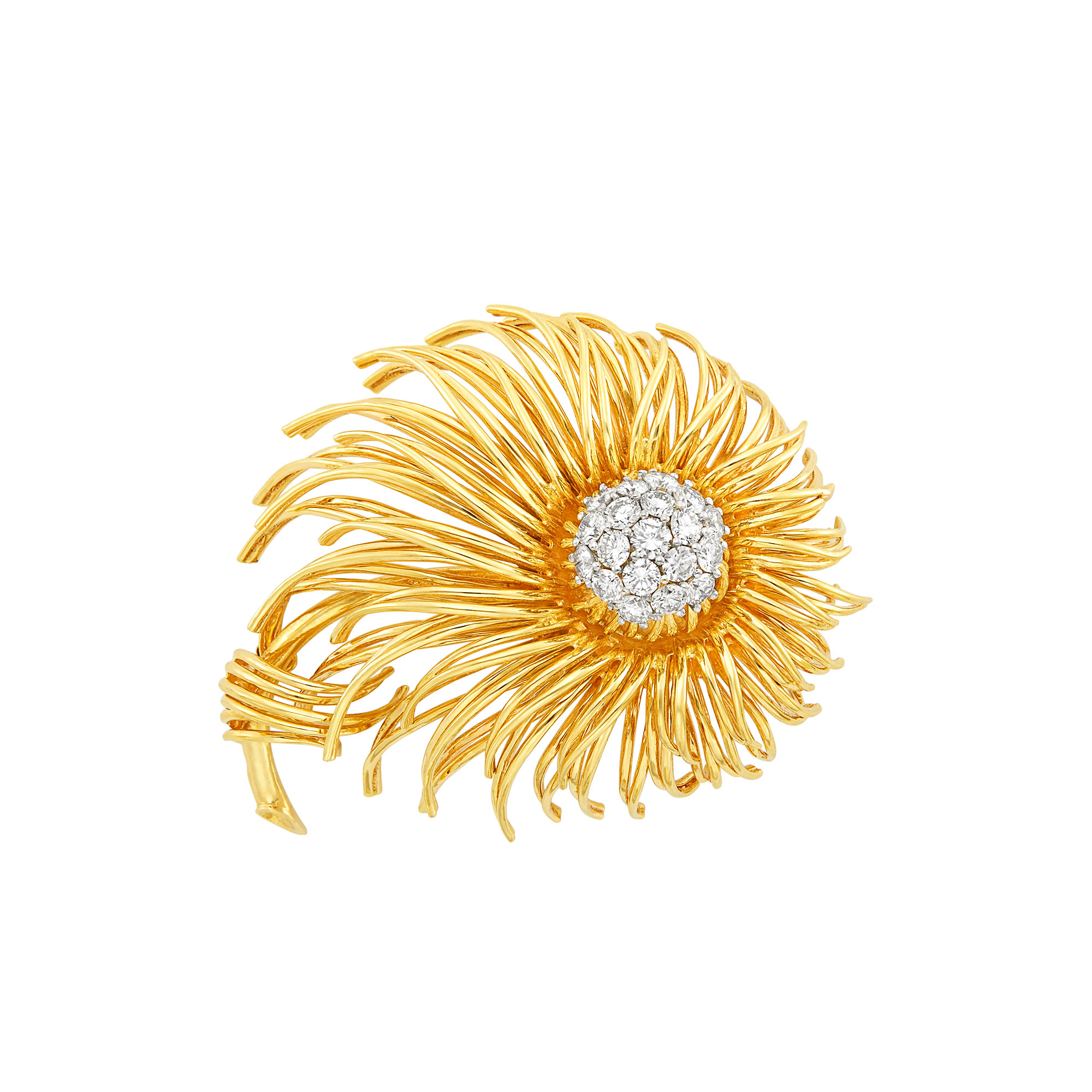 Lot image - Gold and Diamond Flower Brooch