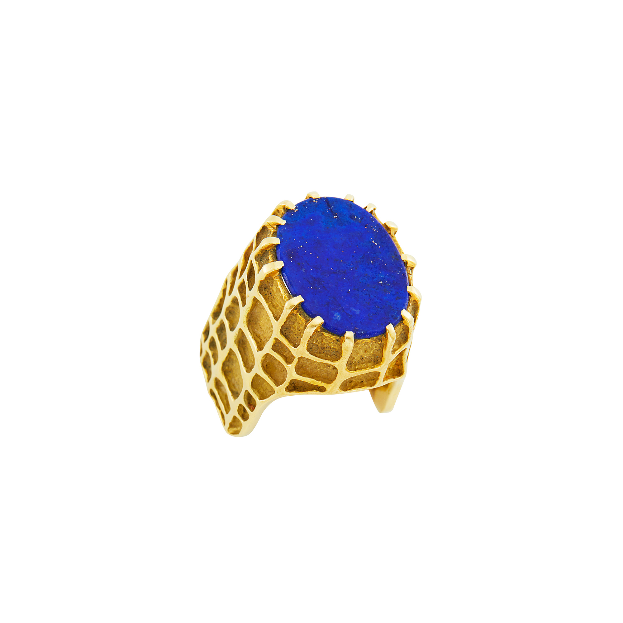 Lot image - Gold and Lapis Dome Ring, Henry Dunay