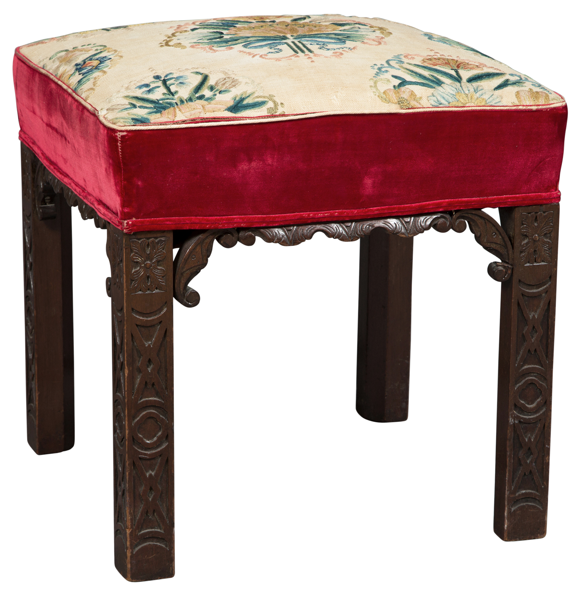 Lot image - George III Style Mahogany Needlepoint Upholstered Stool